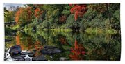 Autumn River Landscape Beach Towel