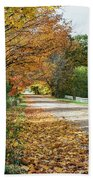 Autumn Road With Fence  Beach Towel