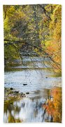 Autumn Stream Reflections Beach Towel