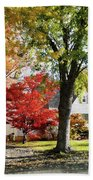 Autumn Street With Red Tree Beach Towel