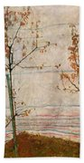 Autumn Trees Beach Towel by Egon Schiele