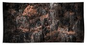 Autumn Trees Growing On Mountain Rocks Beach Towel