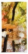 Autumn Trees In The Fog Beach Towel