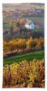 Autumn View Of Church On The Rural Hills Beach Towel