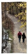 Autumn Walk On The C And O Canal Towpath With Oil Painting Effect Beach Towel