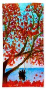 Together In Autumn  Beach Towel