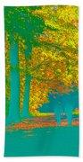 Autumn Woodland Walk Turquoise Beach Towel