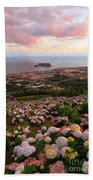 Azorean Town At Sunset Beach Towel
