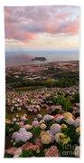 Azorean Town At Sunset Beach Sheet