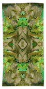 Aztec Kaleidoscope - Pattern 009 - Dark Olive Beach Towel
