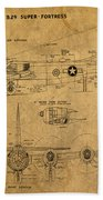 B29 Superfortress Military Plane World War Two Schematic Patent Drawing On Worn Distressed Canvas Beach Towel