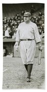 Babe Ruth Going To Bat Beach Towel