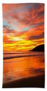 Baby Blue And Tangerine Sky Beach Towel
