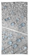 Baby Blue Dew Drops On Feather Beach Towel