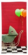 Baby Buggy With Red Wall Beach Towel