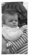 Baby Content On Mom's Shoulder Beach Towel
