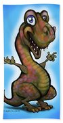 Baby T-rex Blue Beach Towel