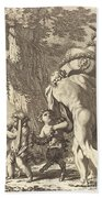 Bacchanal With Figures Carrying A Vase Beach Towel