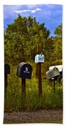 Back Road Mailboxes Beach Towel