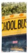 Back To School Bus Watercolor Beach Towel