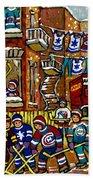 Backlane Snowy Winter Scene Hockey Game Verdun Alley Montreal Team Jerseys Canadian Art Beach Towel