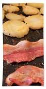 Bacon And Potatoes On A Griddle Beach Towel