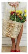 Bag With A Bouquet Of Tulips Beach Sheet