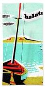 Balaton Lake, Hungary, Fishing Boat On The Coast Beach Sheet
