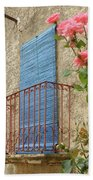 Balcony And Roses Beach Towel