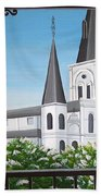 Balcony View Of St Louis Cathedral Beach Towel