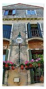 Balcony With Flowers In Venice, Italy Beach Towel