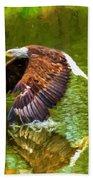 Bald Eagle Cutting The Water Beach Towel