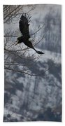 Bald Eagle In Flight-signed-#4014 Beach Towel