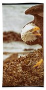 Bald Eagles Family Discussion Beach Towel