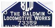 Baldwin Diesel Builders Plate Beach Towel