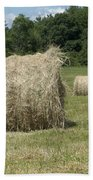 Bales Of Hay In New England Field Beach Towel