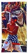 Bali Barong And Kris Dance  - Paint Beach Towel