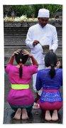 Bali Temple Women Blessing Beach Sheet