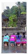 Bali Temple Women Bowing Beach Sheet
