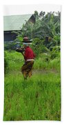 Balinese Lady Carrying Pot Beach Towel