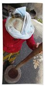 Balinese Lady Grinding Coffee Beach Towel