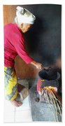 Balinese Lady Roasting Coffee Over The Fire Beach Towel