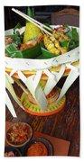 Balinese Traditional Dinner Basket Beach Sheet