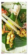 Balinese Traditional Satay Dinner Beach Towel
