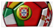 Ball With Flag Of Portugal In The Center Beach Towel