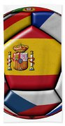 Ball With Flag Of Spain In The Center Beach Towel