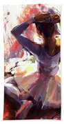 Ballet Dancer Siting  Beach Towel