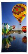 Balloon Reflections Beach Towel by Mike  Dawson