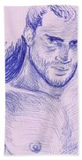 Ballpointpenportrait Beach Towel