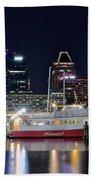 Baltimore Harbor At Night Beach Towel